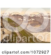 Photochrom Of People On A Terrace View Of Brienzer Rothorn Mountain Royalty Free Historical Stock Photography