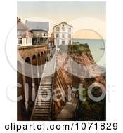 Photochrom Of People On The Staircase At Heligoland Germany Royalty Free Historical Stock Photo