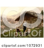 Photochrom Of People Outside A House In Champery Switzerland Royalty Free Historical Stock Photography