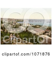 Photochrom Of People Overlooking The Harbor At Beyrout Lebanon Royalty Free Historical Stock Photo