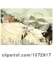 Photochrom Of People Walking In A Snow Path Leysin Switzerland Royalty Free Historical Stock Photography