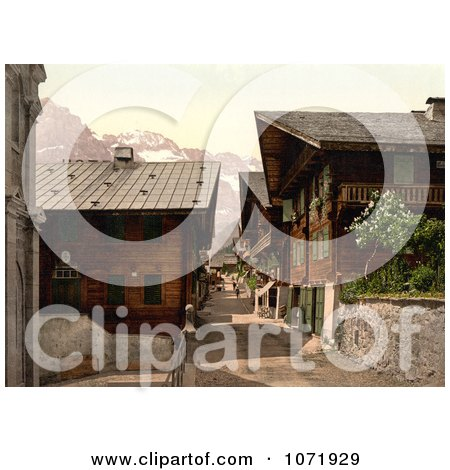 Photochrom of Principal Street in Champery, Switzerland - Royalty Free Historical Stock Photo by JVPD