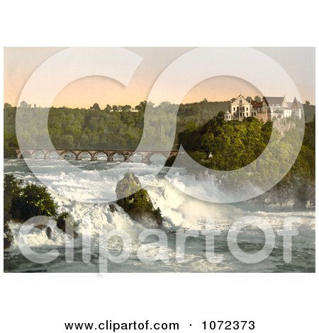 Photochrom of Rhine Falls and Laufen Castle in Switzerland - Royalty Free Historical Stock Photography by JVPD