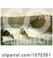 Photochrom Of Rhine Falls And Laufen Castle Switzerland Royalty Free Historical Stock Photography