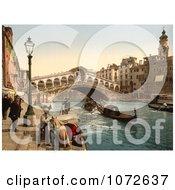 Photochrom Of Rialto Bridge Venice Italy Royalty Free Historical Stock Photography by JVPD
