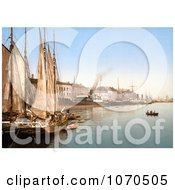 Photochrom Of Sail Ships In The Harbor Hafenstrasse Copenhagen Denmark Royalty Free Historical Stock Photography by JVPD