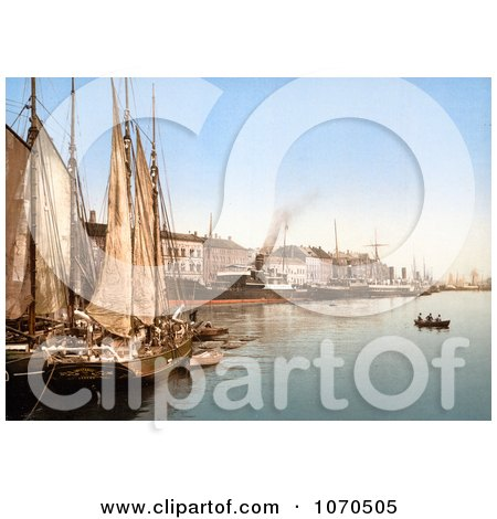 Photochrom of Sail Ships in the Harbor, Hafenstrasse, Copenhagen, Denmark - Royalty Free Historical Stock Photography by JVPD