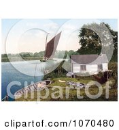 Photochrom Of Sailboat On The Bure River Near A Hut In Norfolk England Royalty Free Historical Stock Photography by JVPD
