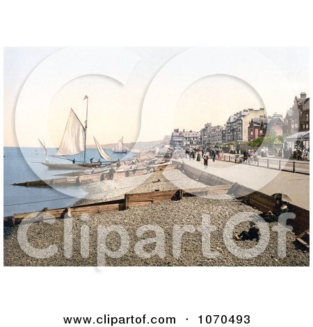 Photochrom of Sailboats Along the Promenade in Herne Bay Kent England - Royalty Free Historical Stock Photography by JVPD
