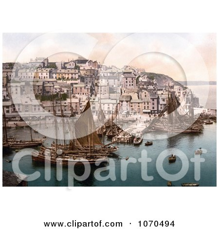 Photochrom of Sailboats at Brixham, Devon, England, United Kingdom - Royalty Free Historical Stock Photography by JVPD