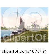 Photochrom Of Sailboats By A Windmill At Horning Village Norfolk England Royalty Free Historical Stock Photography by JVPD