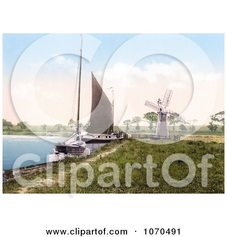 Photochrom of Sailboats by a Windmill at Horning Village Norfolk England - Royalty Free Historical Stock Photography by JVPD