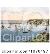 Photochrom Of Sailboats In The Harbour At Brixham Devon England United Kingdom Royalty Free Historical Stock Photography by JVPD