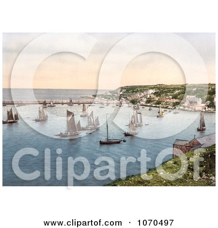 Photochrom of Sailboats in the Harbour at Brixham, Devon, England, United Kingdom - Royalty Free Historical Stock Photography by JVPD