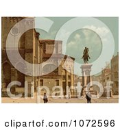 Photochrom Of Santi Giovanni E Paolo Church And Statue Royalty Free Historical Stock Photography by JVPD