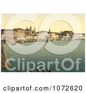 Photochrom Of Schiavoni Venice Royalty Free Historical Stock Photography by JVPD