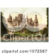 Photochrom Of Shadau Castle On Lake Thun Switzerland Royalty Free Historical Stock Photography