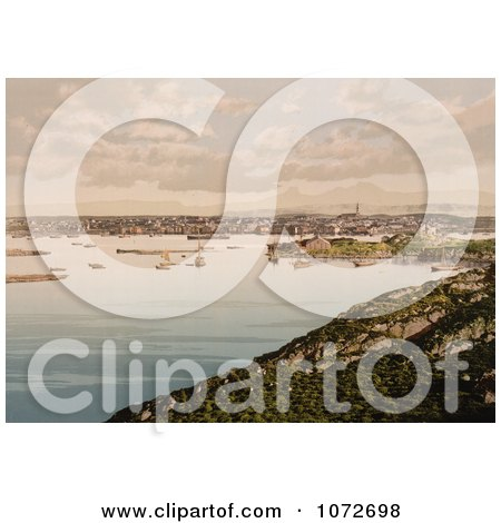 Photochrom of Ships and Waterfront Village, Bodo, Nordland, Norway - Royalty Free Historical Stock Photography by JVPD