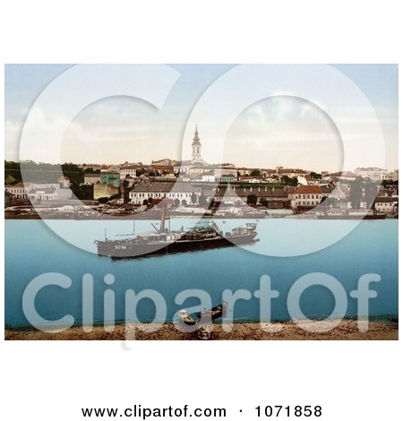 Photochrom of Ships at Belgrade, Serbia - Royalty Free Historical Stock Photo by JVPD