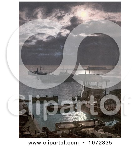 Photochrom of Ships in the Algiers Harbor at Night, Algeria - Royalty Free Historical Stock Photography by JVPD
