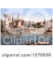 Photochrom Of Ships In The Harbor Copenhagen Denmark Royalty Free Historical Stock Photography