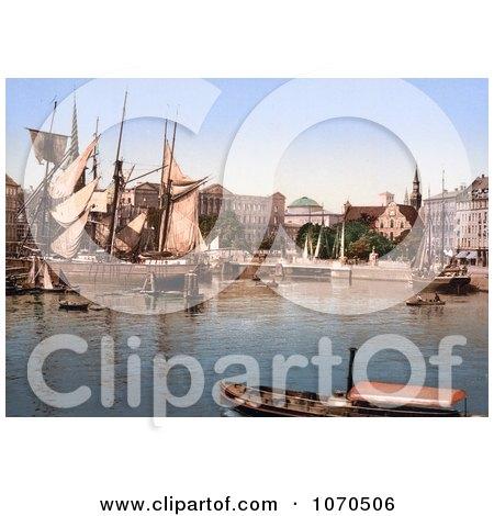 Photochrom of Ships in the Harbor, Copenhagen, Denmark - Royalty Free Historical Stock Photography by JVPD