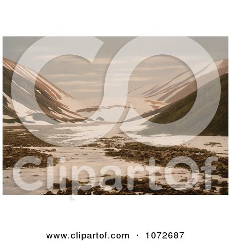 Photochrom of Snebrae at Advent Bay, Spitzbergen, Norway - Royalty Free Historical Stock Photography by JVPD