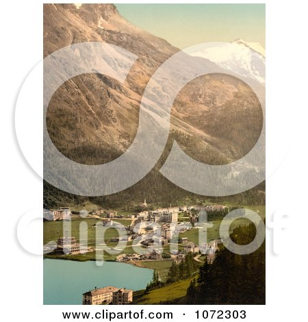 Photochrom of St. Moritz, Switzerland - Royalty Free Historical Stock Photography by JVPD
