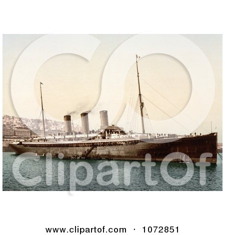 Photochrom of Steamship Normannia, Algiers - Royalty Free Historical Stock Photography by JVPD