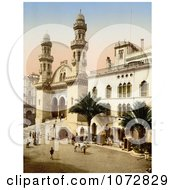 Photochrom Of Steret Scene In Front Of The Cathedral Algiers Algeria Royalty Free Historical Stock Photography