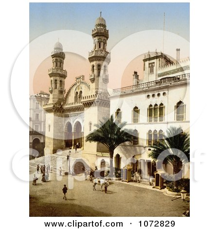 Photochrom of Steret Scene in Front of the Cathedral, Algiers, Algeria - Royalty Free Historical Stock Photography by JVPD