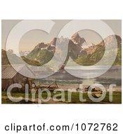 Photochrom Of Stilt Houses Raftsund Lofoten Norway Royalty Free Historical Stock Photography