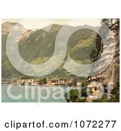 Photochrom Of Stock Photo Of The Village Of Brunnen And The Gothard Tunnel Switzerland Royalty Free Historical Stock Photography by JVPD