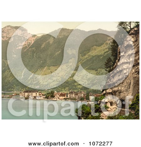 Photochrom of Stock Photo of the Village of Brunnen and the Gothard Tunnel, Switzerland - Royalty Free Historical Stock Photography by JVPD