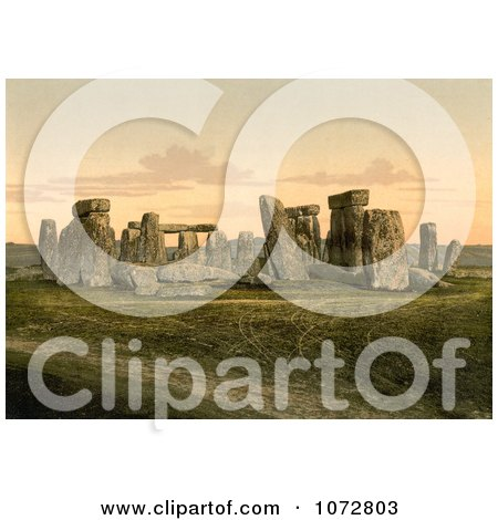 Photochrom of Stonehenge in Salisbury, England - Royalty Free Historical Stock Photography by JVPD