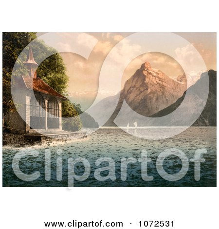 Photochrom of Tell's Chapel on Lake Lucerne - Royalty Free Historical Stock Photography by JVPD