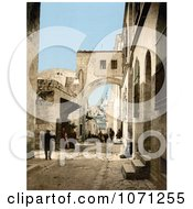 Photochrom Of The Arch Of Ecce Homo Jerusalem Royalty Free Historical Stock Photo by JVPD