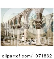 Photochrom Of The Arched Colunade In The Ancient Mosque Of Baalbek Royalty Free Historical Stock Photo