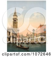 Photochrom Of The Bell Tower And Boats Venice Italy Royalty Free Historical Stock Photography