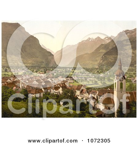 Photochrom of the City of Altdorf in Swtizerland - Royalty Free Historical Stock Photography by JVPD