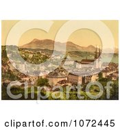 Photochrom Of The City Of Lucerne And Rigi Mountain In Switzerland Royalty Free Historical Stock Photography