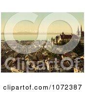 Photochrom Of The City Of Neuchatel Switzerland Royalty Free Historical Stock Photography