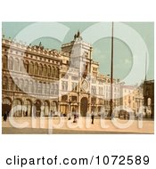 Photochrom Of The Clock Tower In St Marks Place Venice Royalty Free Historical Stock Photography by JVPD