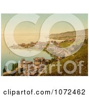 Photochrom Of The Coastal Village Of Montreux And Clarens Switzerland Royalty Free Historical Stock Photography