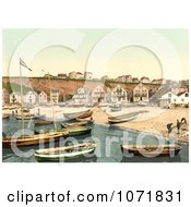Photochrom Of The East Beach Of Helgoland With Boats And Buildings Germany Royalty Free Historical Stock Photo by JVPD