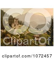 Photochrom Of The Grand Hotel In Switzerland Royalty Free Historical Stock Photography