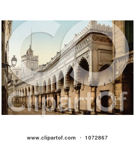 Photochrom of the Great Mosque Arcade, Algiers, Algeria - Royalty Free Historical Stock Photography by JVPD