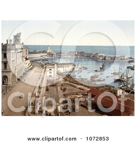 Photochrom of the Harbor of Algiers, Algeria - Royalty Free Historical Stock Photography by JVPD