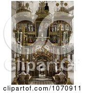 Photochrom Of The Holy Sepulchre Interior In Jerusalem Israel Royalty Free Historical Stock Photo by JVPD