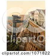 Photochrom Of The Lift And Grand Staircase Of Helgoland Germany Royalty Free Historical Stock Photo